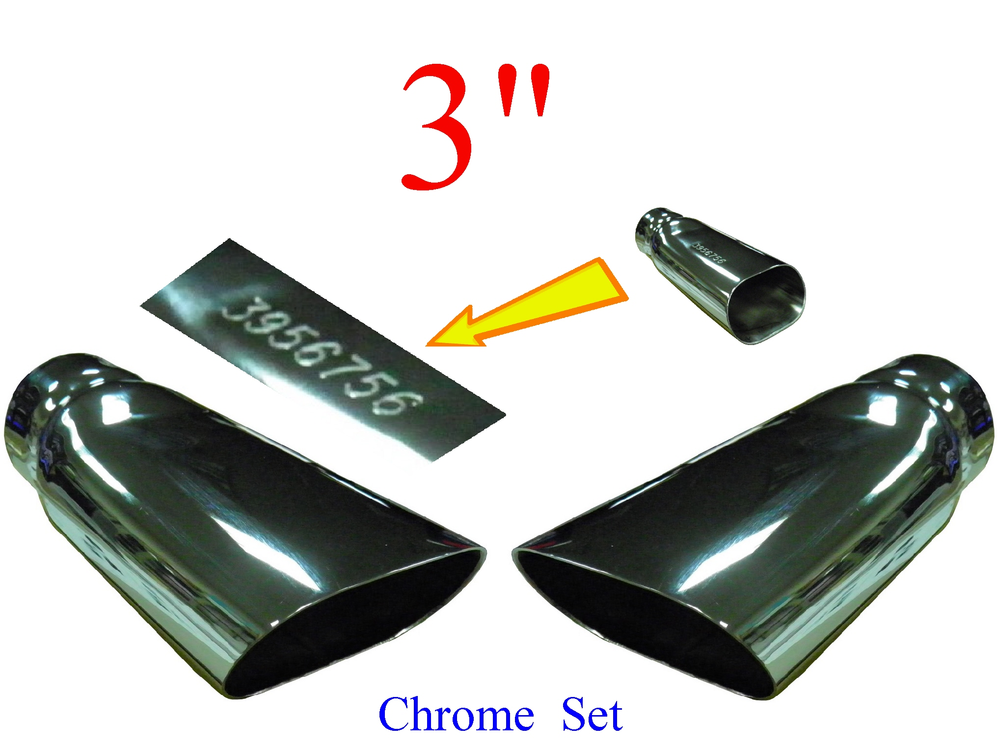 "68-72 Chevelle SS 3"" Chrome Plated Exhaust Tip Set"